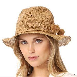 Madewell Crochet Fedora Hat with Raffia Pom